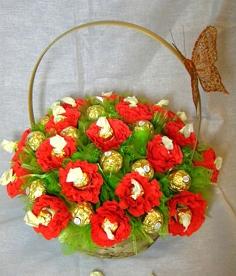 Красиві подарки з цукерок на хрестини