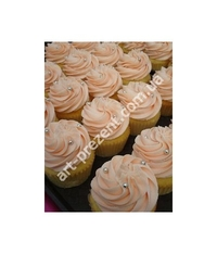 Muffins in soft pink tones with busnelli. Wonderful and tasty buffet table decoration. Possible, chocolate, cream, caramel, and other toppings. Minimum quantity 6 PCs.