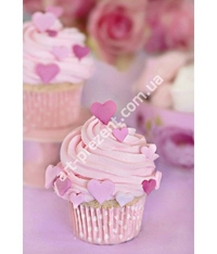 Gorgeous cream muffins in pink with hearts. Ideal for wedding receptions, as well as for children\'s birthdays. Possible, chocolate, cream, caramel, and other toppings. Minimum quantity 6 PCs.